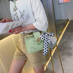 2019 New Fashion Lace Embroidery Single Shoulder Bag with Hundred Ribbons Scarf Slanting Chain Bag gules thy only