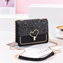 Spring and Summer Bag Women's Bag 2019 New Chain Chain Button Fashion Simple One Shoulder Slant Bag black thy only