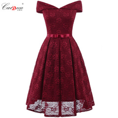 Dress collar bow Lace Sexy Dress s red