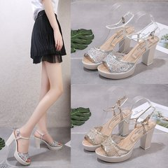 The new ultra high heel sandal women feel with fish mouth waterproof platform thick heel golden 36