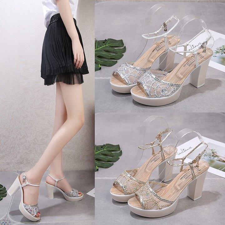 The new ultra high heel sandal women feel with fish mouth waterproof platform thick heel golden 36