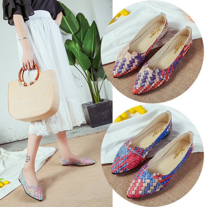 New Type of Foreign Trade Women's Single Shoes with Pinpoint Colour Matching Flat Bottom gules 36