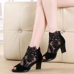 Lace High-heeled Fish-billed Boots with New Rough-heeled Sandals in Summer of 2019 black 42
