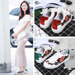 shoes with laces and flat soles, new leisure sneakers and summer embroidered tourist shoes red 35