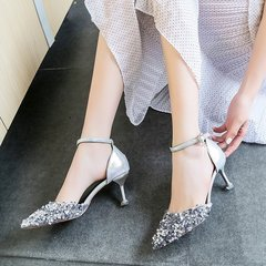 Summer 2019 New Single Shoe Female Tip Fine-heeled Sexy Fashion Button silver 38