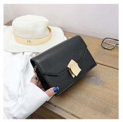 New fashionable diamond chain small square bag in summer bright Pu single shoulder slanting bag black thy only