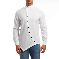 Men's long sleeve shirt with asymmetrical small vertical collar with oblique placke white m