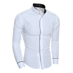 New Personality Bordered Leisure Collar Men's Slim Long Sleeve Shirt white m