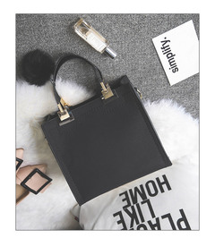 women casual tote bag female high quality PU leather handbag with fur ball bolsa Grey one size black thy only