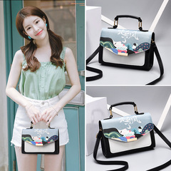 Korean version of women's bags fashionable casual small square bags with one shoulder inclined bag 1 product size: length 23cm, width 11cm, height 17cm