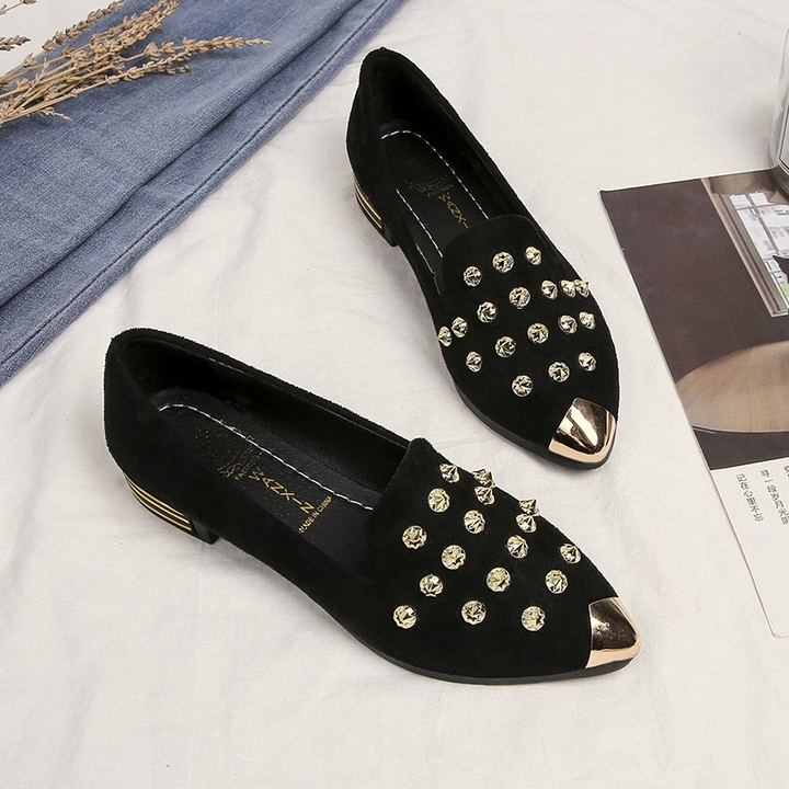 """""""2019 New Pointed Peas Shoes Women Comfortable Lazy Shoes flat rivet Casual Single Shoes gray  """" blake 35"""