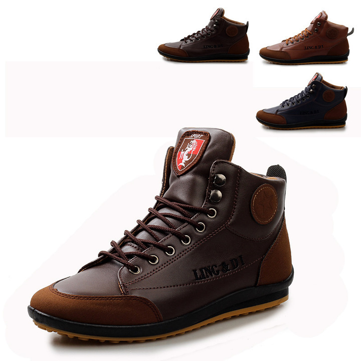 ShoeAll 1 Pair Men Casual Sneakers Loafers Fashion Quality Men Shoe Brown brown 39