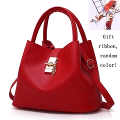 Pattern Lady's Single Shoulder Bag Retro PU Leather Mailman's Handbag brown 20.5cm by 12.5cm by 20cm red product size: length 20cm, width 13cm, height 20cm