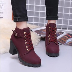 high heels, thick heels, foreign trade women's shoes, muffins, thick-soled boots, Martin boots red 35