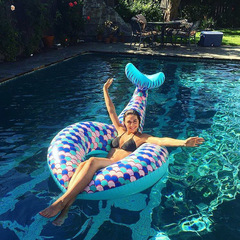 Fashion Water PVC Thickened Floating Ride Riding Adult Inflatable Mermaid Floating Ring blue Inflated:120 x 180CM mermaid swimming circle