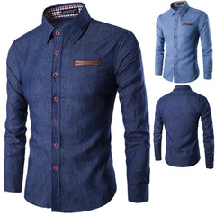 Fashionable leisure men's shirt pocket patchwork Cotton Long Sleeve Shirt jeans shirt dark blue L