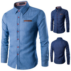 Fashionable leisure men's shirt pocket patchwork Cotton Long Sleeve Shirt jeans shirt Light blue M