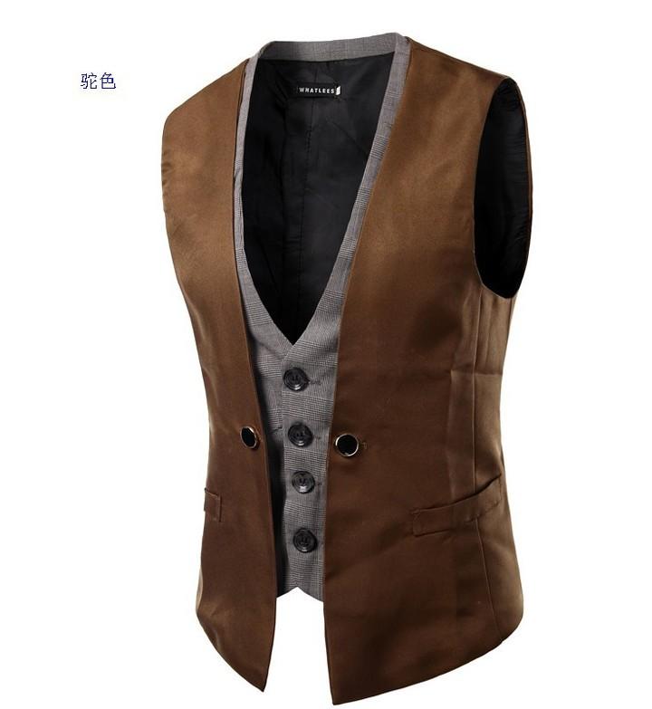fashion wedding gown boys clothe Plaid Fabric Business Mens Suits Slim Ma3 jia3 Wedding dress camel XXL