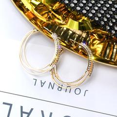 earrings round earrings for women earrings studs earrings set earrings 925 silver with water drills Silver needle-Golden, only