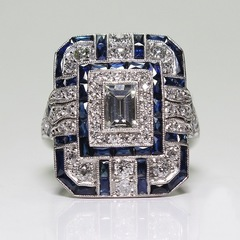 earrings for womenrings for womenrings weddingrings jewelleryrings for men Square Blue Zircon Ring bule 6