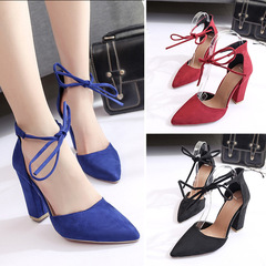 ladies shoes heels ladies shoes red shoes women sandals shoes womenSuede shallow ankle strap stra black 35