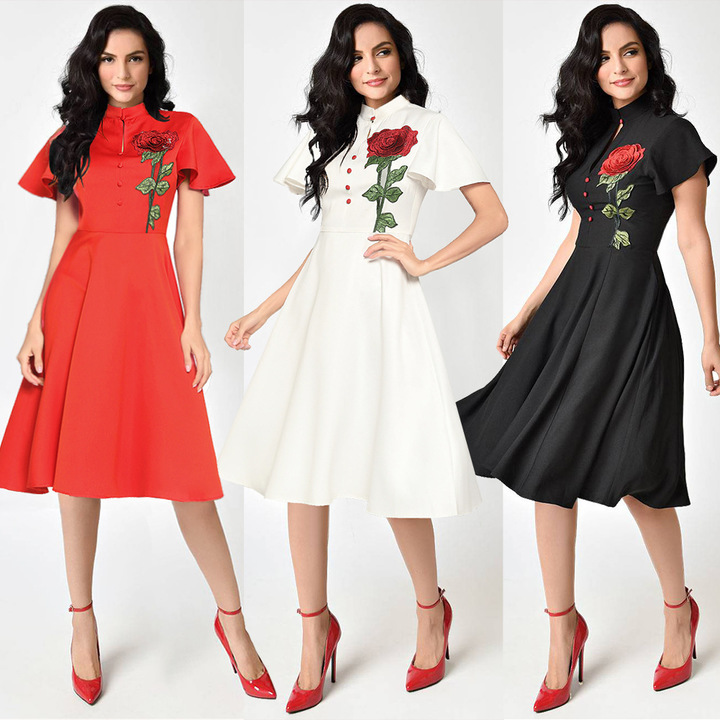 dresses summer dresses for ladies ladies dresses sexy Solid color short-sleeved embroidered dress s red