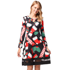 dresses for women ladies dresses fashionChristmas Europe and America Spot Cartoon Print Mesh Dress s black