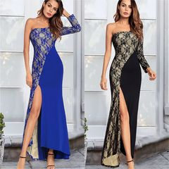 dresses for women ladies dresses fashion Evening dresses  long  lace sexy dress slit dress dress s bule