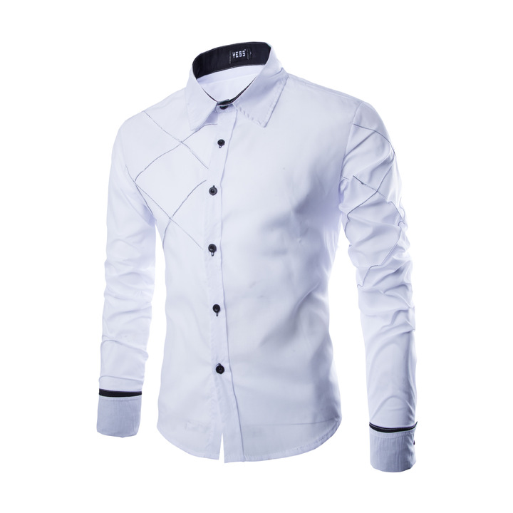 New men's long-sleeved shirt casual plaid line men's long-sleeved shirt white m