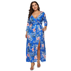 ladies dresses sexy V dresses for women ladies  dresses blue printed straps seven-point sleeve dress xl bule