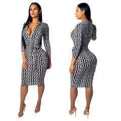 Women Geometric Print Dresses Elegant Sexy Brown V Neck Pencil Dresses Plus Size High Waist Party l white