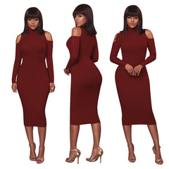 Knitted Dresses Woman Cashmere Sweaters Long Sleeve Sexy Slim lady Sweater Dress Plus Size l wine red