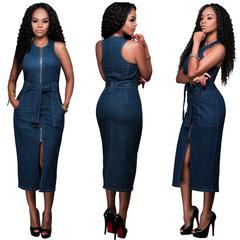 2019 Summer Dress Denim Vest Slim Fashion Zipper Split Bottom Jeans Dresses With Belt Pockets l jeans blue