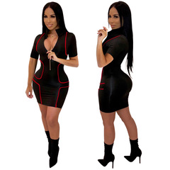 Women Bandage Bodycon Dresssexy Party Dress Sexy Short Mini Dresses Clubwear Robe Zipper l black