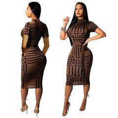 2019 Sexy Women Dress Party long club bodycon Dresses Sashes Turtleneck Clothes l brown