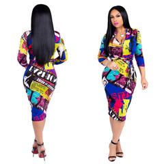 V-Neck Sashes short  Women Dresses Fashion Casual Sexy Bodycon Bandage Club Night Midi Dress l colorful