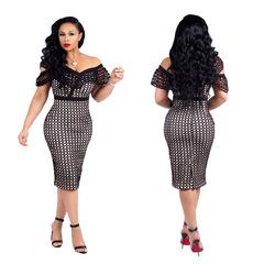 Women White Black Mesh Patchwork Bodycon Dress Summer Sexy Club Dresses Pencil One Shoulder Dress l black