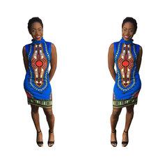 2019 sexy woman dress Summer DressTraditional African Print Sleeveless High Collar Sexy Dress l blue