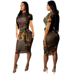 Women fashion Dress Stand Collar Bodycon Dress Party Dresses with Belt Plus Size Sexy Clubwear l brown