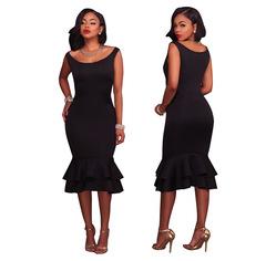 2019 New Arrival Pink Black Red Fashion Women Dress Sleeveless Elegant Party Dresses l black