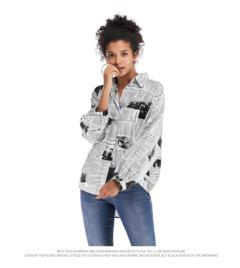 Hot sale 2019 fashion women's letter printed newspaper shirt women's wild long-sleeved shirt l black