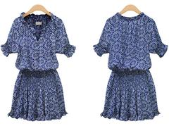 2019 summer women new short-sleeved printed cotton casual wild V-neck button dress l blue