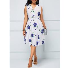 2019 summer Hepburn style retro 50S print dress women's clothing l 1