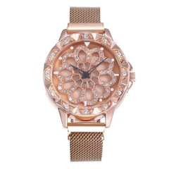 2019 Fashion Women Rose Gold Flower Rhinestone Wrist Watches Luxury Casual Female Quartz Watch 1 one size