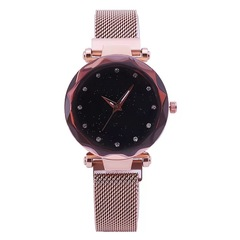 Luxury Mesh Ladies Clock Magnet Buckle Starry Diamond Geometric Surface woman Quartz Wristwatch 1 one size