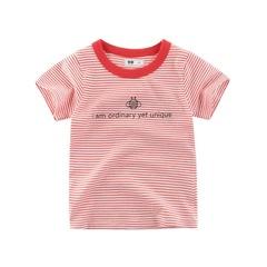 2019 new children clothing summer children short-sleeved T-shirt striped round neck shirt boys girls 1 90cm cotton