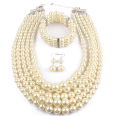Pearl beaded necklace earrings bracelet three-piece multi-layer pearl necklace jewelry set 1 one size