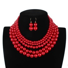 American fashion style imitation pearl jewelry simple multi-layer necklace woman necklace 1 one size