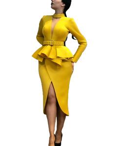 2019 new women dress for African women Long Sleeve Space Layer Mesh V-neck Open Dress l yellow