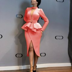 2019 new dress for African women Long Sleeve Space Layer Mesh V-neck Open Dress l pink